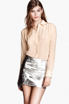 Silver Low Gloss LayeLeather Skirt