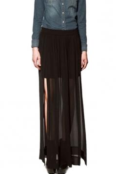 Tassels Chiffon Slited Skirt