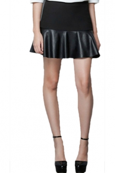 Leather Patchwork Pleated Skirt