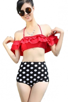 Red Ladies Ruffle Bikini Top &  Swimwear Polka Dot High Waisted Bottom