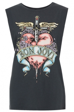 Black Bon Jovi Heart Print Tank Top