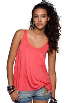 Plus Size Red Solid Color Loose Ladies Tank Top
