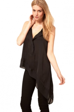 Left-right Asymmetry V Neck Womens Sheer Top