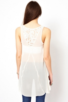 Girls Lace Back See Through Sheer Tank Top