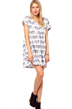 White Short Sleeve Elephant Printing Top
