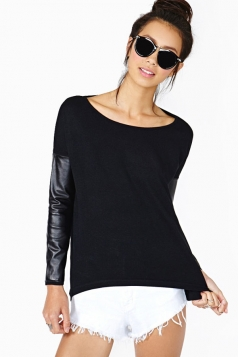 Black Ladies All-match Round Neck Leather Long Sleeve Top