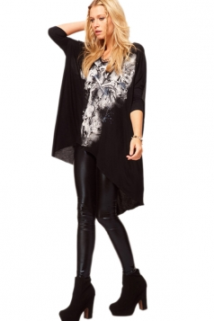 Long Sleeve Graffiti Loose Smock Dress