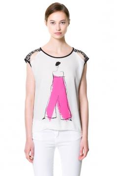 Plus Size White Back Leopard Print Lady T-Shirt
