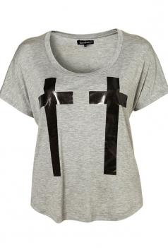 Plus Size Gray Symmetrical Cross Print T-Shirt