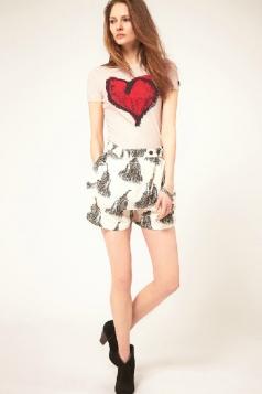 Plus Size Pink Round Collar Heart Printing T-shirt
