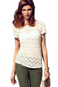 Plus Size White Lace Printing Semilucent T-shirt