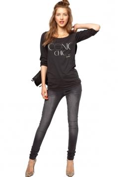 Plus Size Black Long Sleeve ICONIC CHIC T-shirt