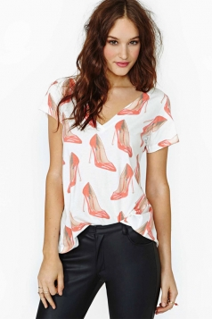 Plus Size White Red High Heeled Shorts Print T-shirt