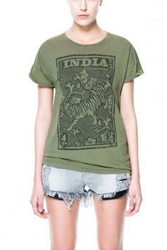 Plus Size India Tiger Stamp Printed Round Neck Cotton T-shirts