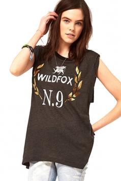 Plus Size Dark Gray Womens WILDFOX N9 Printed Round Neck Tank Tops