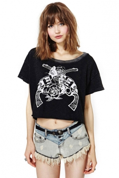 Plus Size Black Two Guns Butterfly Rose Printed Womens Crop Tops