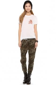 Plus Size White Short Sleeve Bear Print Cute Tunic T-shirt Top