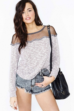 Mesh See Through Shoulder Long Sleeve T-shirt Top