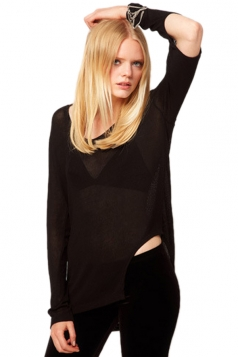 Long Cut Out Sleeve Sheer T-shirt Top