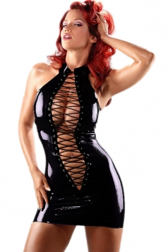 Black Sexy Womens Lace Up Sleeveless Mesh Bodycon Dress