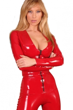 Red Erotic Long Sleeves Womens Sexy Bodysuit Jumpsuit Lingerie