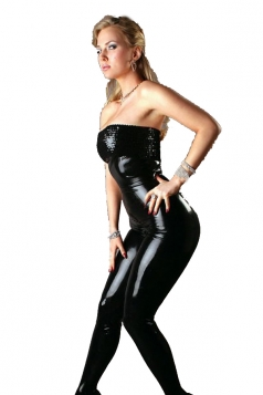 Black Strapless Faux Leather Bodysuit Jumpsuit Vinyl Lingerie