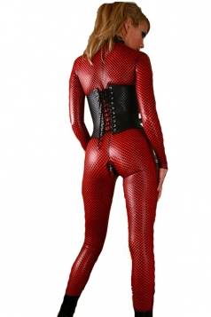 Sexy Red Polka Dots Corset Waist Faux Leather Bodysuit Jumpsuit