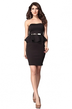 Ladies Tube Strapless Peplum Dress
