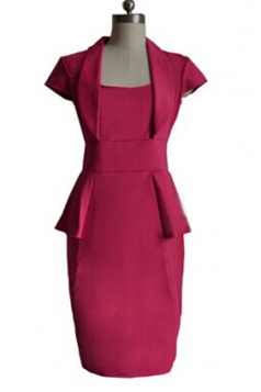 Modest Ladies Formal Square Cap Sleeve Peplum Dress