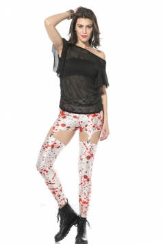 White Crazy Ladies Bloodstain Print Suspender Leggings