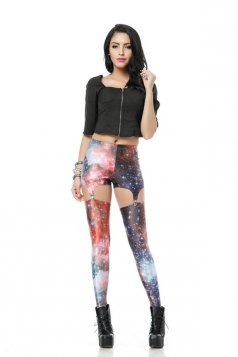 Red Crzy Ladies Nebulous Galaxy Print Suspender Leggings