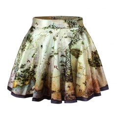 Green Vintage Womens Map Printed Pleated Skirt