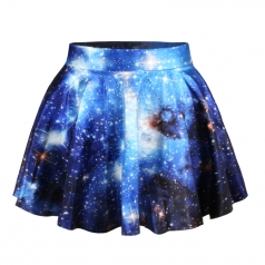 Blue Sexy Galaxy Pleated Womens Skirt