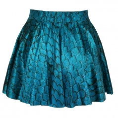 Blue Fashion Ladies Mermaid Print Pleated Skirt