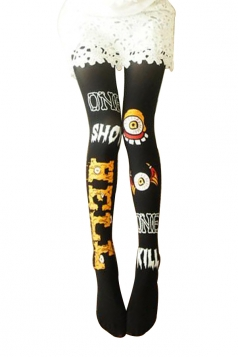Cool Ladies Halloween Eyeball Printed Long Stockings