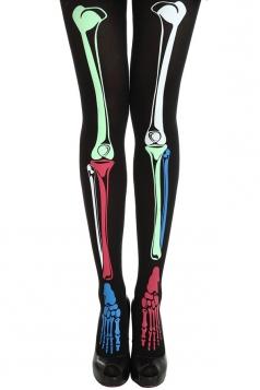 Green Colorful Skeleton Printed Halloween Womens Long Stockings
