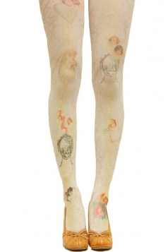 Beige Ladies Cute Angel Printed Vintage Long Stockings