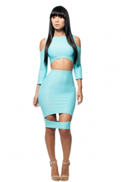 Light Blue Sexy Ladies Long Sleeves Cut Out Bodycon Dress