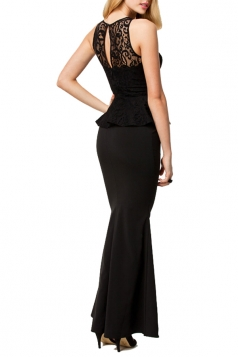 Black Sleeveless Lace Sexy Womens Slim Elegant Peplum Dress