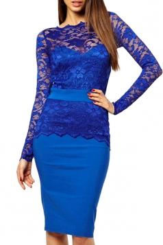 Elegant Lace Tunic Bodycon Evening Dress