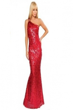 Womens Sexy Sequin One Shoulder Vintage Evening Dress