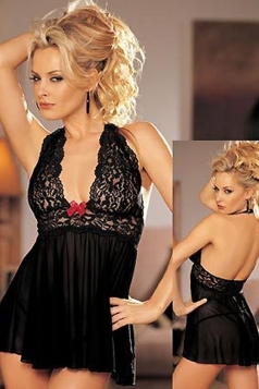 Black Sexy Womens V Neck Lace Halter Teddy
