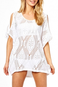 Fashion Ladies Cut Out Short Sleeve Loose Crochet Sheer Top