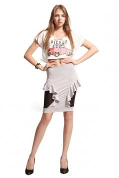 White Cute Womens Ruffle Slimming Pencil Skirt