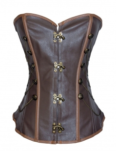 Brown Trendy Womens Chain Studded Lace Up Over Bust Corset