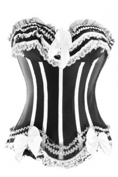 Sexy Womens Lace Stripe Bow Frill Over Bust Corset