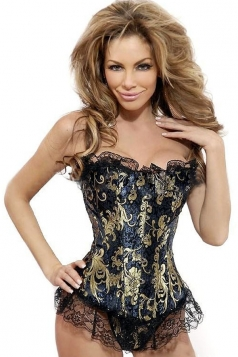 Gold Sexy Ladies Lace Floral Over Bust Corset
