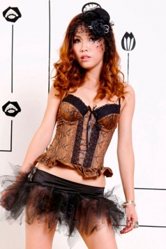 Brown Ruffle Sexy Lace Ladies Vintage Over Bust Corset