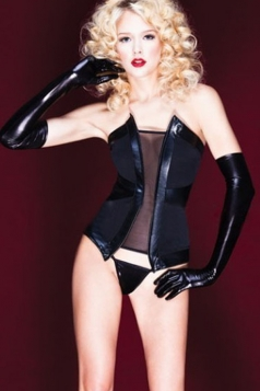 Black Faux Leather Womens Sexy Sheer Corset