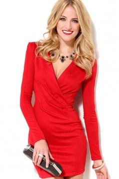 Stunning Womens Long Sleeves V Neck Long Sleeve Dress